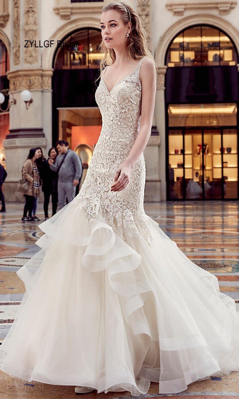 ZYLLGF Bridal Fishtail V Neck Victorian Wedding Dresses Brush Train ...