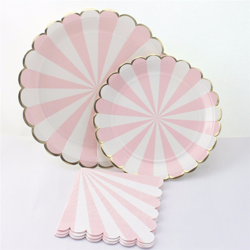 Gilding High-end Disposable Tableware Set Pink Striped ...