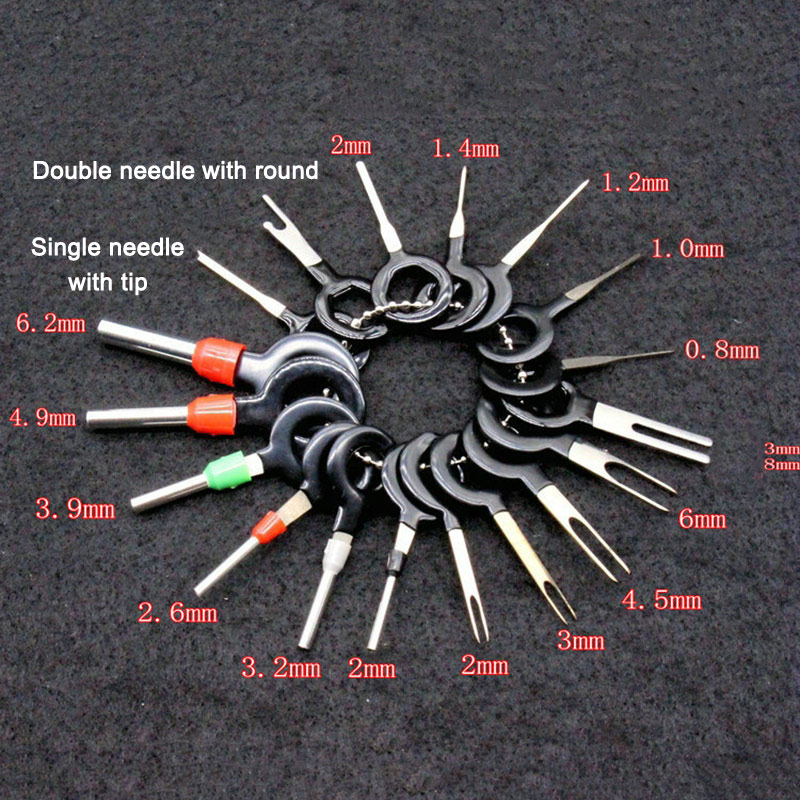 18 Pcs Car Wire Harness Plug Terminal Extraction Pick Connector Pin Remove Tool Set YAN88