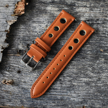 Onthelevel Handmade Retro Watch Strap Genuine Leather Band 20mm 22mm Breathable Watchbands Belt SilverBuckle #C