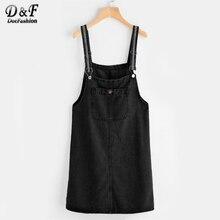 Dotfashion Сарафан платье из джинсовой ткани с карманами женщина черный спагетти ремень платье осень квадратный Средства ухода за кожей Шеи Sleeveless Sheath Dress