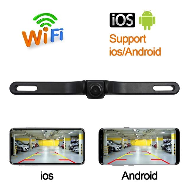 """CROSSSUNAI HD DVR אלחוטי Wifi ארה""""ב רכב מסגרת לוחית רישוי מצלמה גיבוי חניה הפוך מבט אחורי מצלמה רכב אבטחה"""