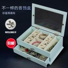 Деревянная коробка ювелирных изделий ящик для хранения на Европейской Южной Кореи принцесса Qixi Фестиваль подарок на день рождения фланель