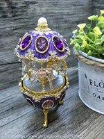 Vintage Egg Shaped Music Box Faberge Style Egg Music Box Pewter Figurine Musical Egg Jewelry Box