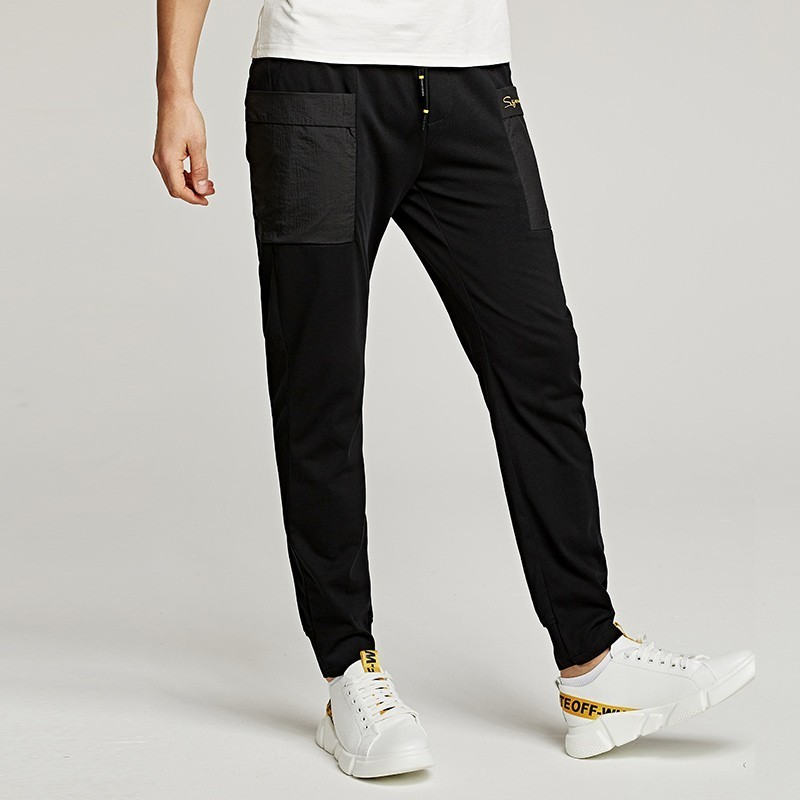 Summer 2019 New Men Casual Cargo Pants 100% Cotton Letter Black Color Pocket For Man Fashion Slim Male Wear Long Trousers 09354-in Cargo Pants from Men's Clothing    2