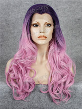 New Arrival Lavender Purple Omber Synthetic Lace Front Wig Wavy Drag Queen Wigs Free Shipping