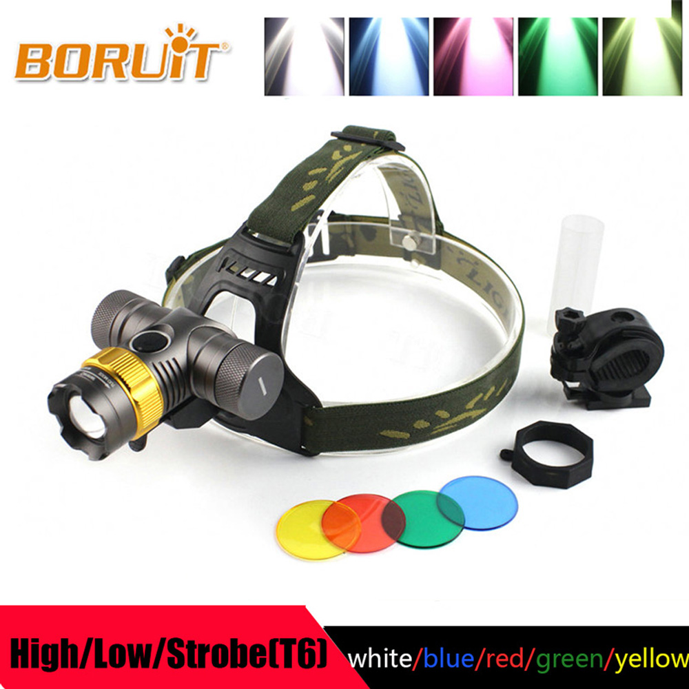 цены на BORUIT 2500LM T6 LED headlight zoomable Headlamp 3 Modes 5 Light Colors Head Torch Flashlight 18650 battery for Hunting fishing в интернет-магазинах