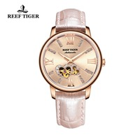 2019 Reef Tiger/RT Luxury Brand Women Watches Leather Strap Diamond Watches Rose Gold Automatic Watches Reloj Mujer RGA1580