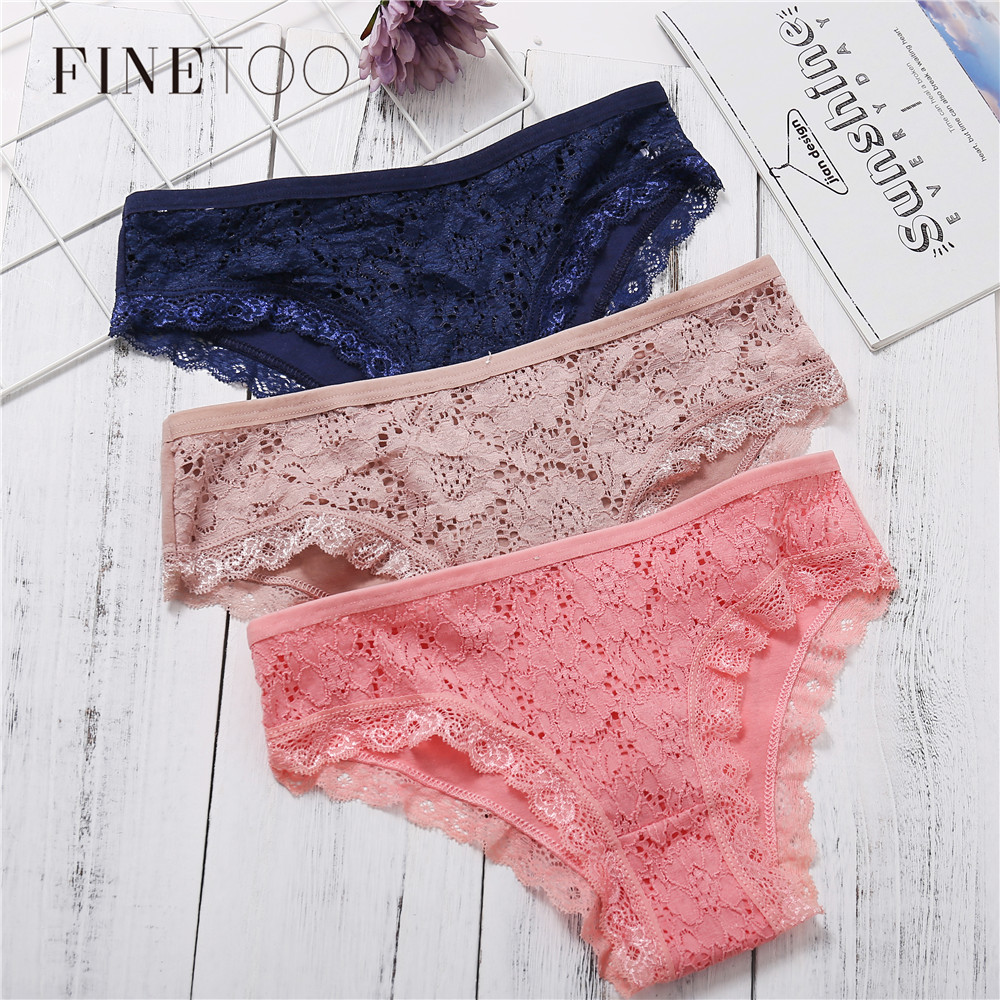Women Lace   Panties   3pcs/set Sexy Briefs Fashion Cotton Low Waist Female Underwear Intimates Ladies   Panty   Lingerie Drop shipping