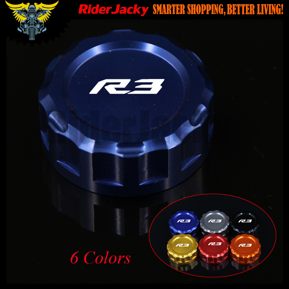 With Logo:R3 Blue/Red/Black Motorcycle CNC Aluminum Rear Brake Fluid Reservoir Cover Cap For YAMAHA YZF R3 YZFR3 2015 2016