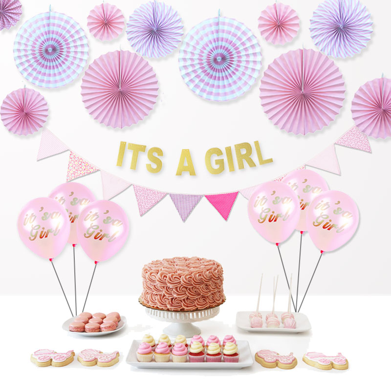 Hot pink set baby shower decoration it 39 s a girl balloons for It s a girl dekoration