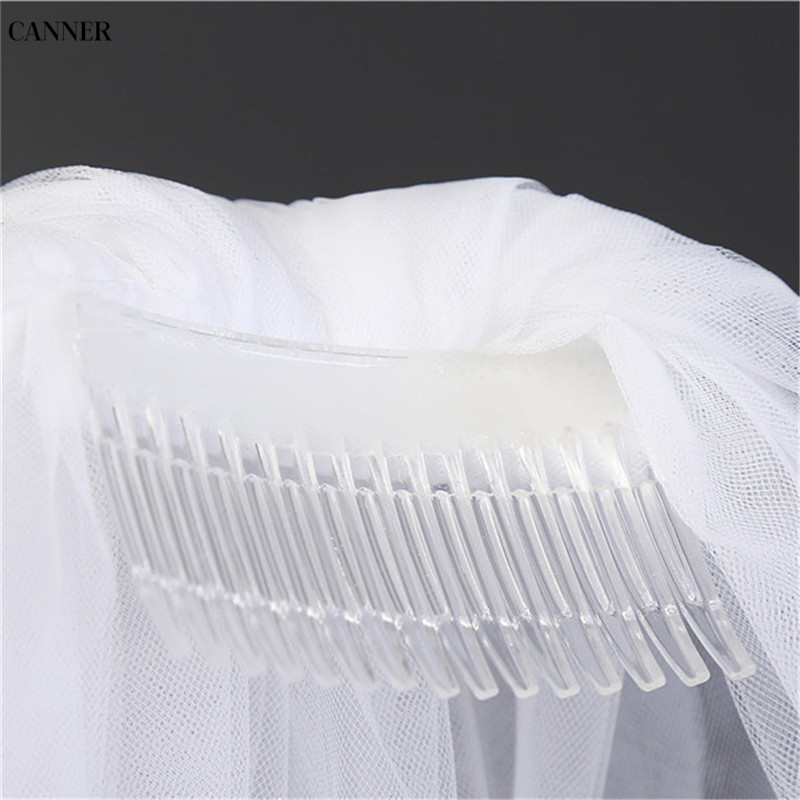 Canner Women White Ivory Wedding Veils 2-layer Bridal Veil Cheap Wedding Accessories Tulle With Comb