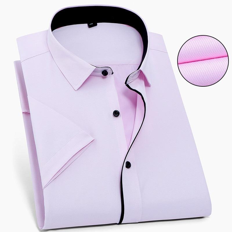 Image 2 - Твил чистый цвет 8XL 7XL 6XL 5XL большой размер Мужская рубашка с коротким рукавом приталенная официальная Мужская белая рубашка деловые мужские рубашки-in Повседневные рубашки from Мужская одежда