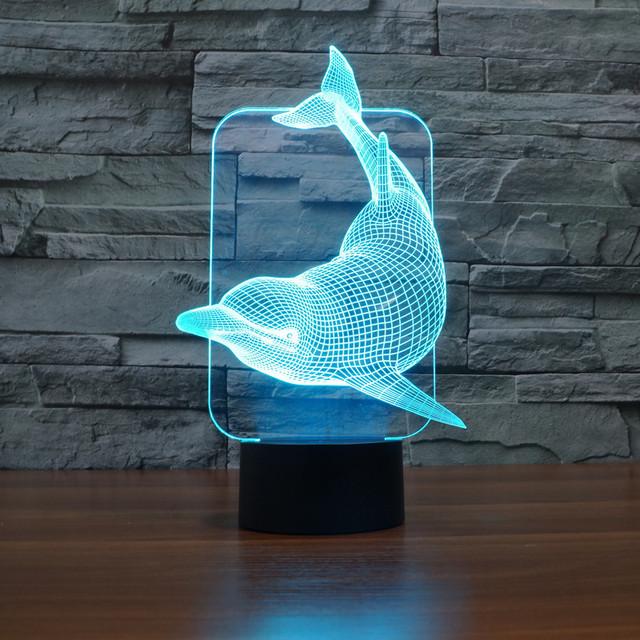 7 cambio de color Lindo Dolphin Animal lámpara USB Luz de la Noche 3D LED Lamparita de Acrílico Colorido Degradado Ambiente Lámparas IY803457