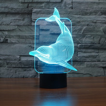 7 color change Cute Dolphin Animal Night Light USB lamp 3D LED NightLight Acrylic Colorful Gradient Atmosphere Lamps IY803457