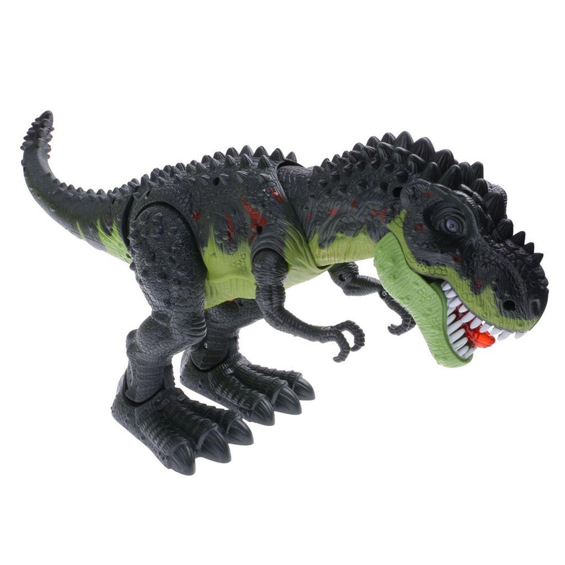 Cool Electric Walking Dinosaur Robot Toy Sound Light Moving Kids Gift