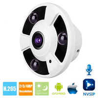 HD 1080P 2MP 4MP IP Camera Onvif Microphone Audio Pick Up Fisheye 5MP 1.8mm Lens IR Night Vision Security CCTV Camera NVSIP