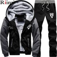 Brand New Men Set Fashion Winter Tracksuits Thick Fleece Lined Hoodies Sweatshirt + Pants Track Suit Mens Sportswear Sweat Suit