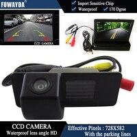 FUWAYDA Color CCD Car Rear View Camera for Chevrolet Aveo Trailblazer Opel Mokka Cadillas SRX CTS+4.3 Inch foldable LCD Monitor