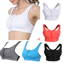 Athletic Running Yoga Vest Sports Tops Breathable Women Zipper Push Up Sports Bra Padded Wirefree Shockproof Gym Fitness Topwear