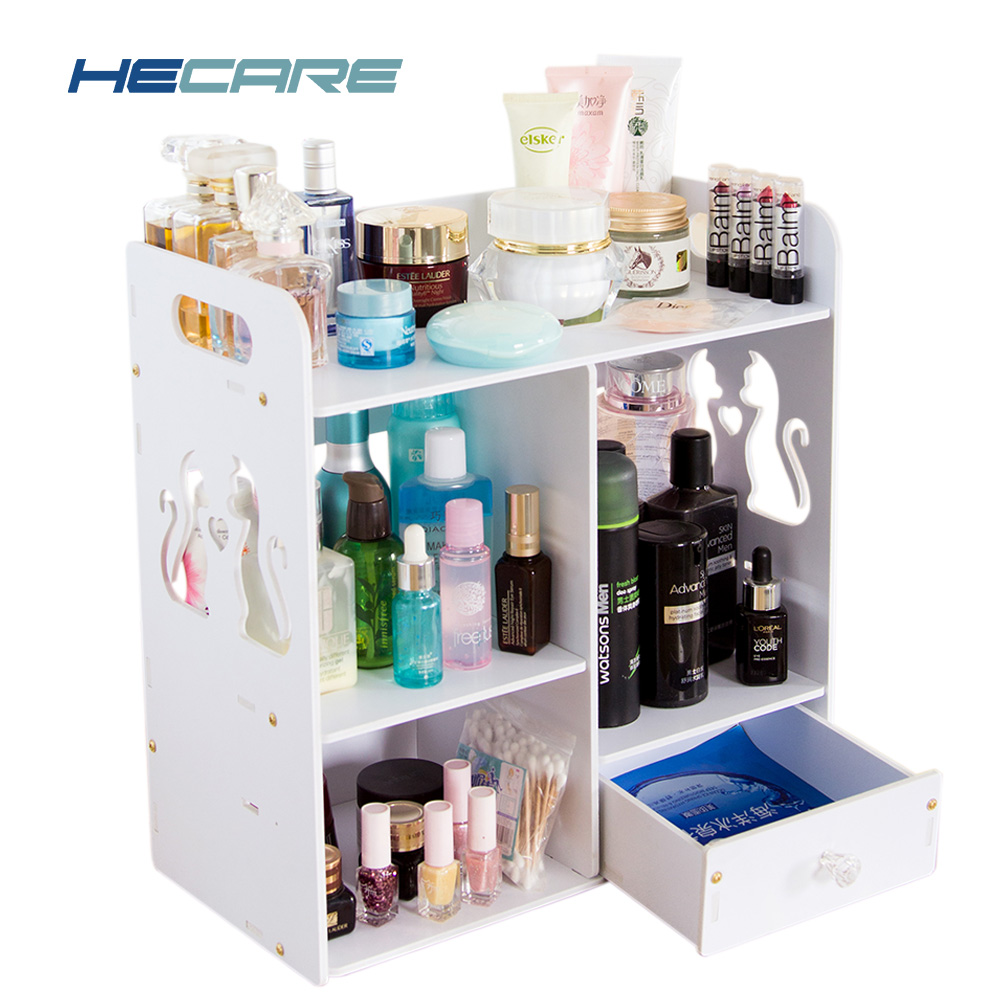 Bathroom Multi functional Jewelry Box Plastic PVC Pink Makeup Organizer With Small Drawer Desk Sundries Cosmetic Storage Boxes
