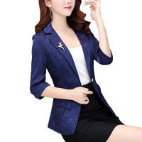 2019 New Chic Jacquard Suit Jacket Women Seven point Sleeve Korean Slim Thin Blazer Spring Summer Ladies Casual Short Coat f525