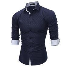 Осень Новый 2017 Повседневная Мода Марка Бизнес Рубашка С Длинным Рукавом Мужская рубашки Slim Fit Сетка Рубашка Мужчины Clothing Размер M-XXL Q(China (Mainland))