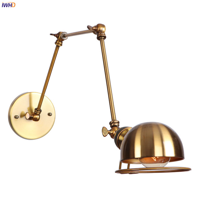 IWHD Golden Loft Style Retro LED Wall Lights Fixtures Adjustable Swing Long Arm Wall Lamp Edison Sconce Lampara Appliques Pared