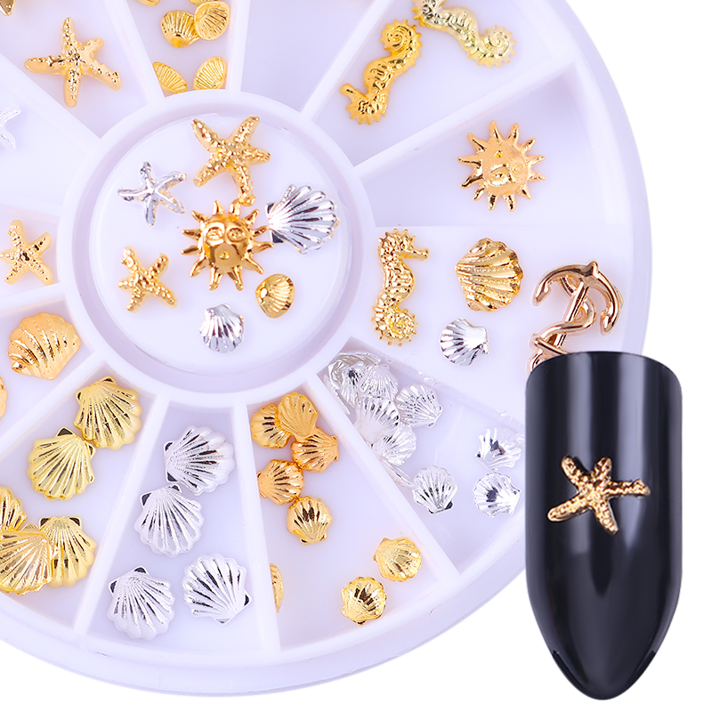Gold Silver Rivet Studs 3D Nail Decoration Starfish Shell Anchor Manicure Nail Art Decor in Wheel 12 boxes gold rivet nail studs round star heart triangle oval rhinestone manicure nail art decoration