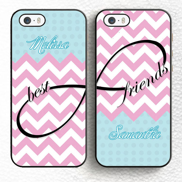 Set of Two Personalized Pink Chevron Infinity Best Friends BFF Soft TPU Phone Cases For iPhone 6 6S Plus 5 5S 5C 4S SE Cover