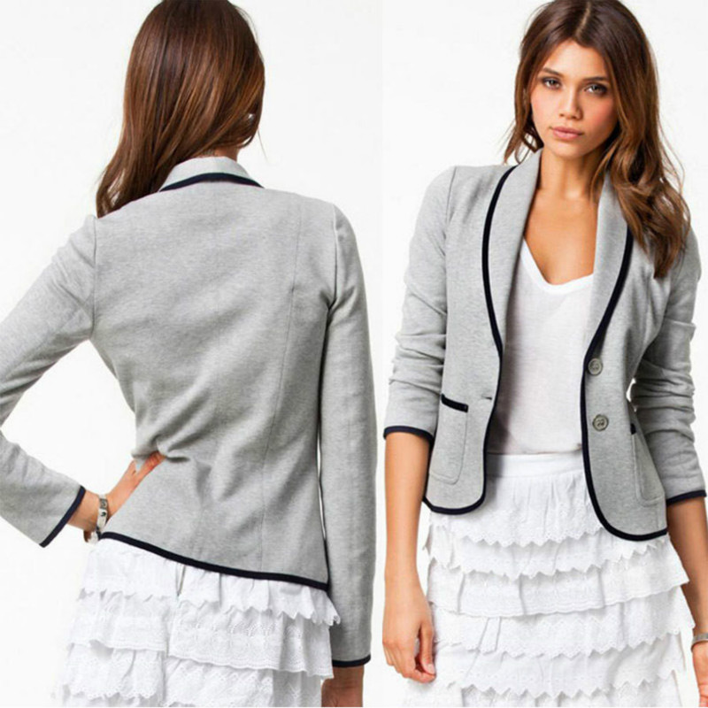 Women Blazer Suit Autumn Casual Button Slim Work Office Short Blazer Jacket Outwear Feminino Jaqueta Veste Femme