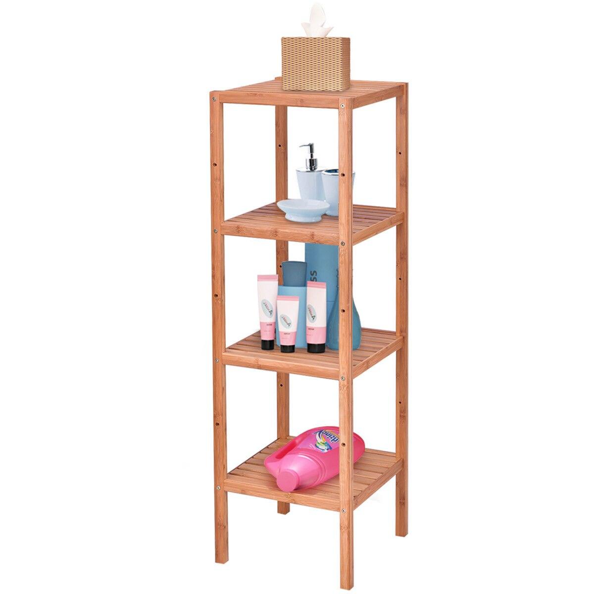 Goplus 4 уровня бамбука хранения стеллаж Ванная комната Полотенца полка Многофункциональный Ящики для гостиной мебель HW56489