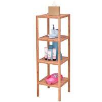 Goplus 4 Tier Bamboo Storage Shelving Unit Bathroom Towel Rack Shelf Multifunction Living Room Storage Furniture HW56489