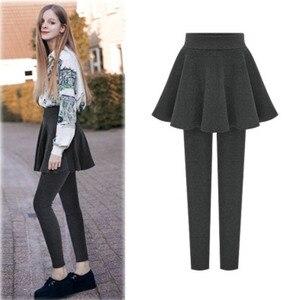 Image 2 - NORMOV kadın kış kalın sıcak tayt yüksek bel elastik katı ince dış giyim pantolon etek M 6XL artı boyutu tayt