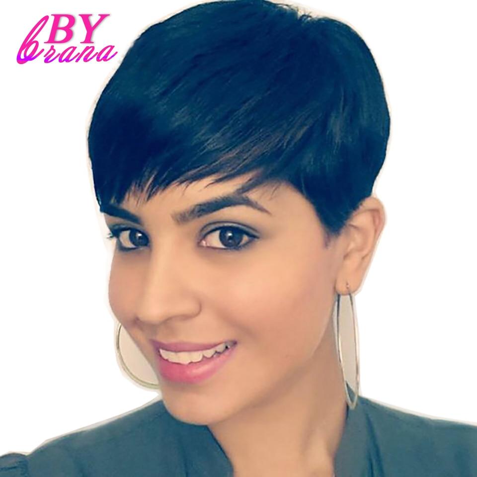 Bybrana Preto Sintética Macia Curto Em Linha Reta Peruca de Cabelo - Cabelo humano (preto)