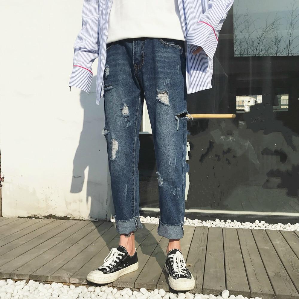 2018 весенние и летние новые Мужская мода прилив отверстия ковбойские штаны высокого качества голубой цвет Свободные повседневные джинсы бр... ...