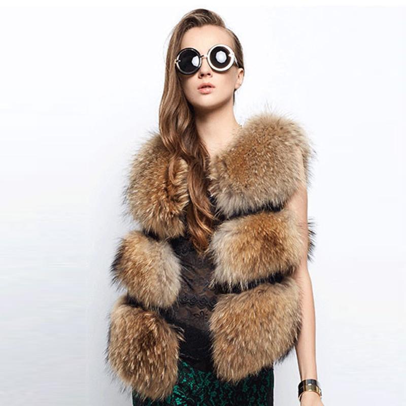 Novi dolazak Ženski dugi modni modni prsluk od umjetnog krzna Faux rakun pas krzno kratki prsluci kaput ženski prsluk PC147