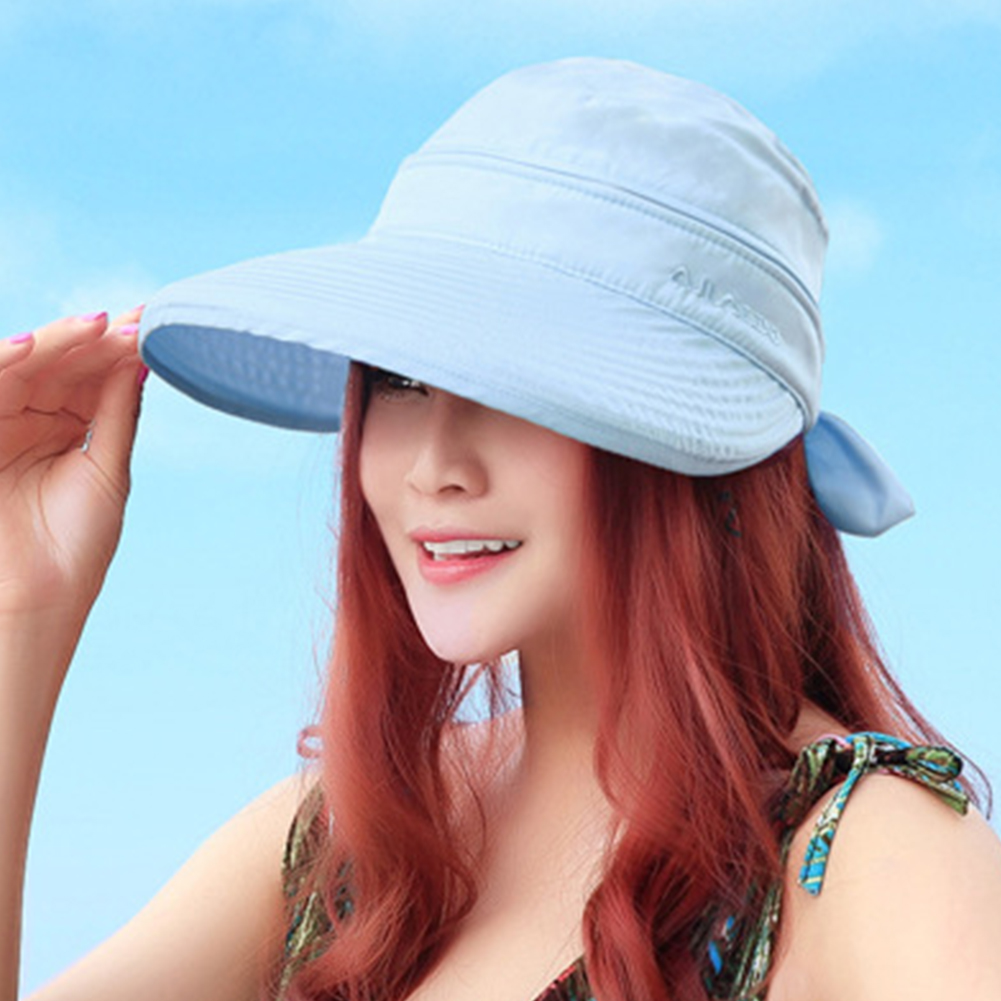 Solid Summer Fashion Visors Outdoor Bowknot Ladies Practical Foldable Cap Korean Style Travel Sun Hat Beach Hiking