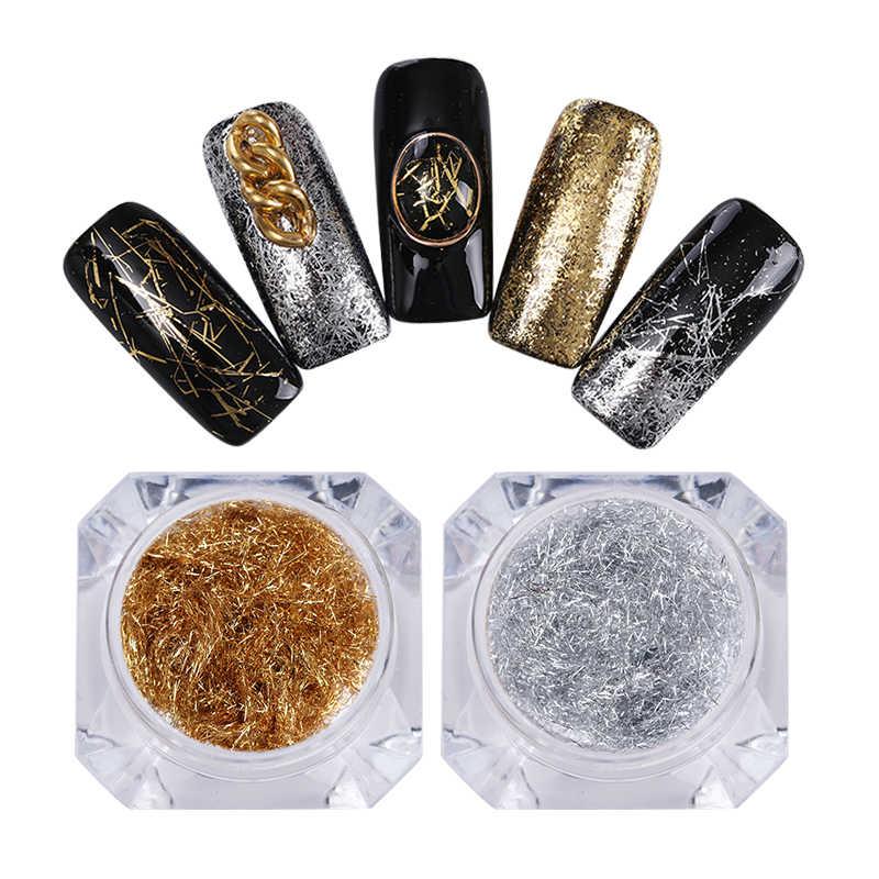 1 Hộp Vàng Bạc Móng Lấp Lánh Lát Dây Kim Loại Dòng Gương Móng Dây Flakies Bụi 3D Móng Tay Nghệ Thuật Trang Trí