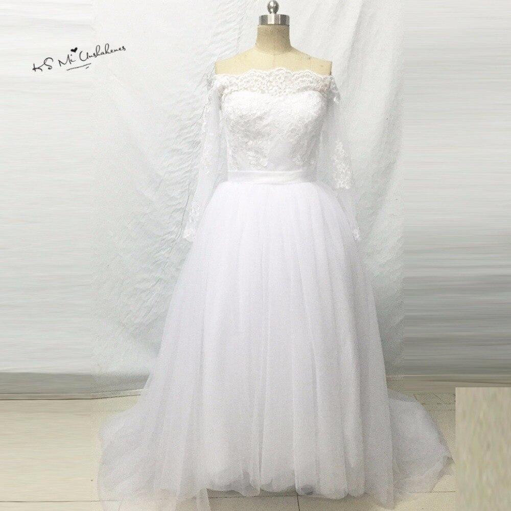 e6f50fdadf8f0 خمر الكورية فساتين زفاف ريفي الدانتيل قبالة الكتف الأميرة أثواب الزفاف طويل  الأكمام فستان العروس vestidos دي بوداس baratos