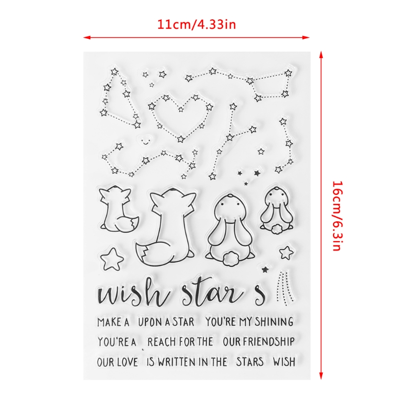 1 Pc Transparent Clear Seal Stamp Fox Rabbit Clear Silicone Seal Stamp DIY For Album Scrapbook Photo Card S69 multiple types transparent clear stamp diy silicone seals scrapbooking card making photo album decoration craft accessories