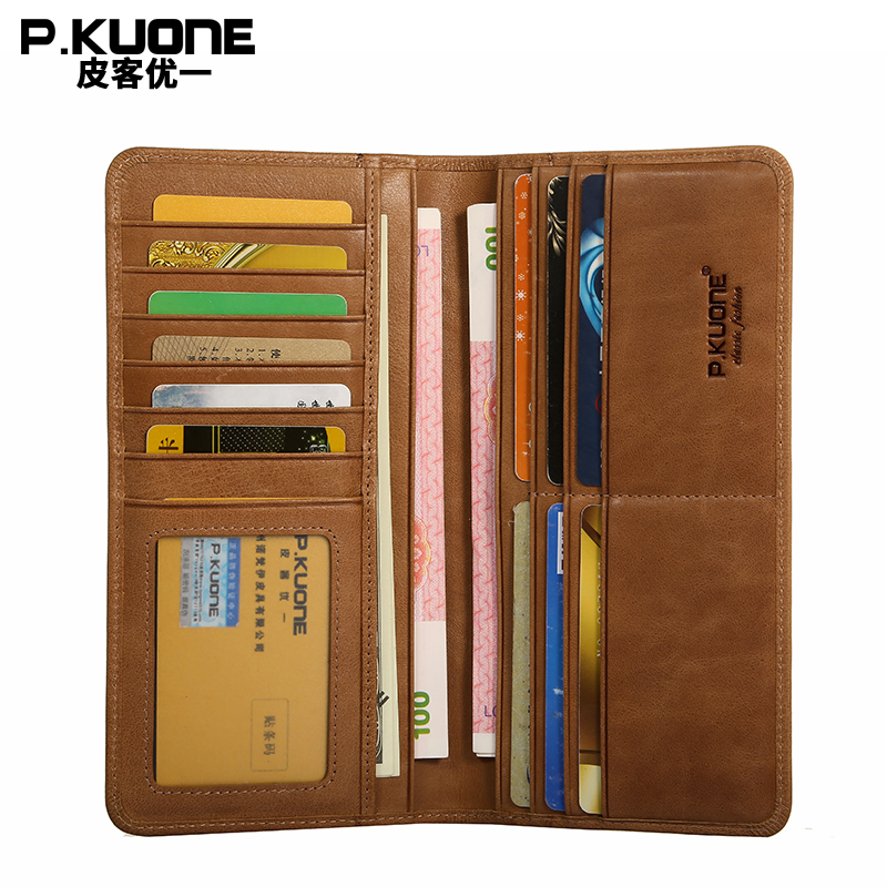 P.KUONE New Design Ultrathin Wallet High Quality Genuine Leather Brand Men Purse Fashion Long Male Passport Cover Travel Wallet ...