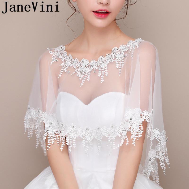 Купить с кэшбэком JaneVini Beaded Bridal Wraps Lace Appliques Wedding Jacket Bridal White Tulle Evening Shrug Bolero Novia Summer Party Cape Shawl