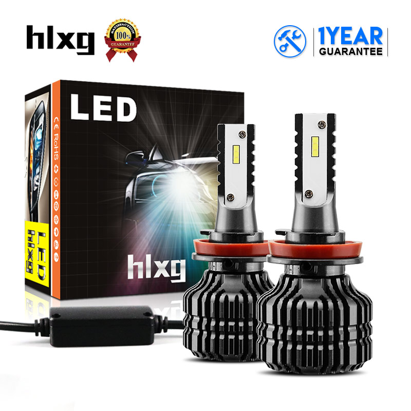 HLXG Auto Car Headlights Q5 H8 H9 H11 LED CSP 9000lm 52W 6000K White Automobile Headlamp DRL Fog Bulbs Fast Cooling Fanless 12V super bright h11 led car headlight bulbs h8 h9 auto lamp 50w 6500k csp chips automobile headlamp light