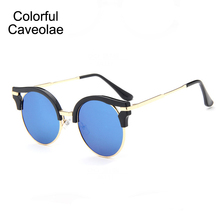 New 2017 Sunglasses Fashion Women UV400 Popular Cat Eye Woman Sun Glasses Designer Colorful Glasses Mirror Female
