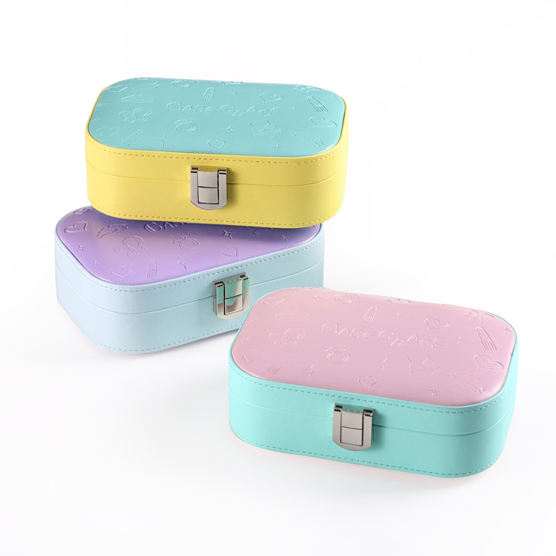 Free Shipping Wholesale Cheap Korean Style Leather Jewelry Box Storage Boxes Candy-colored Multifunction Jewel Case for Gift