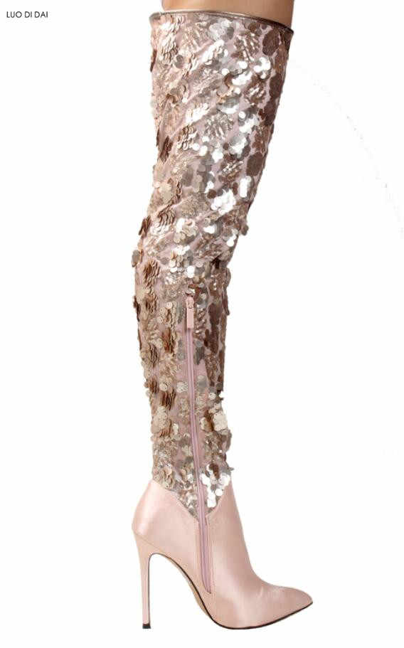4ca4fe264a Detail Feedback Questions about 2019 glitter women thigh high boots ...