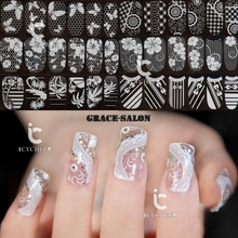 ICYCHEER White Flower Lace 3D Diamond Nail Art Stickers Decals With Diamond  Rhinestone Nail Decoration Waterproof 94dc5fcebfae