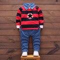 Новорожденных детская одежда джентльмен baby boy полосатый рубашка + полосой комбинезоны моды baby boy одежда