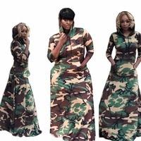 Camouflage Spliced High Waist Sheath Floor Length Dress Spring Streetwear Woman Hooded Collar Long Sleeve Robe With Pocket L0234